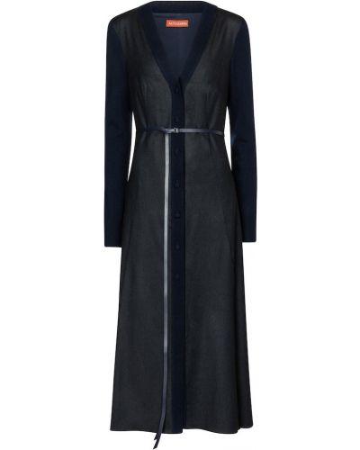 С рукавами синее платье миди из вискозы Altuzarra