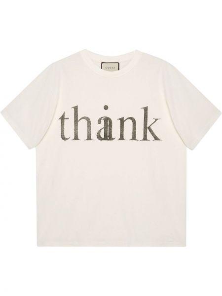 Biały bawełna koszula krótkie z krótkim rękawem okrągły dekolt krótkie rękawy Gucci
