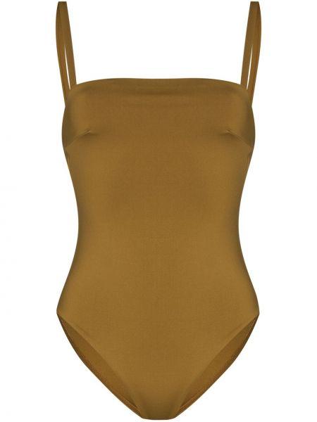 Желтый купальник на бретелях стрейч Asceno