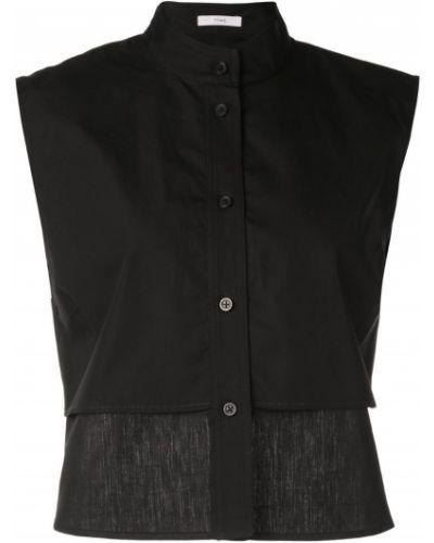 Однобортная черная рубашка без рукавов Tome