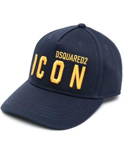 Niebieski kapelusz bawełniany z haftem Dsquared2 Kids