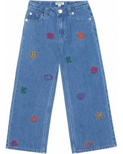 Bawełna bawełna niebieski jeansy z haftem Kenzo Kids