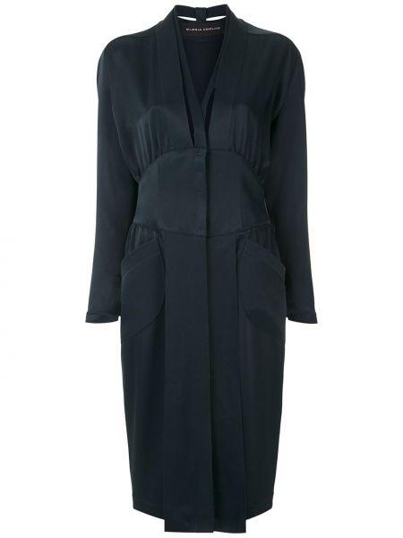 Приталенное платье на пуговицах с карманами из вискозы Gloria Coelho