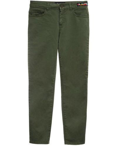 Beżowe spodnie z haftem zapinane na guziki Mr&mrs Italy