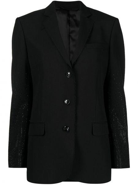 Шерстяной черный удлиненный пиджак на пуговицах Diesel