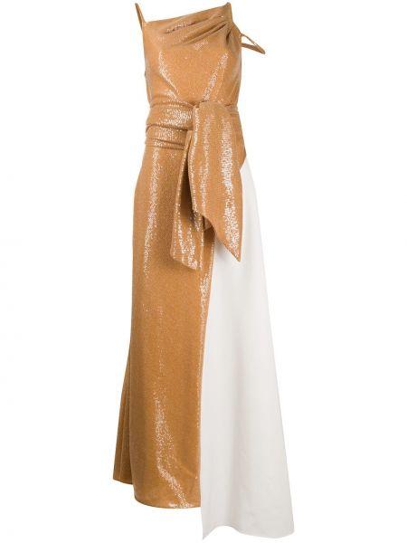 Тонкое платье макси на бретелях с люрексом с вырезом Avaro Figlio