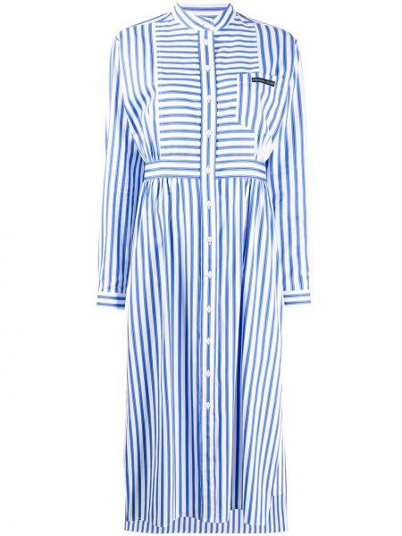 Классическое платье макси на пуговицах с воротником с карманами Prada