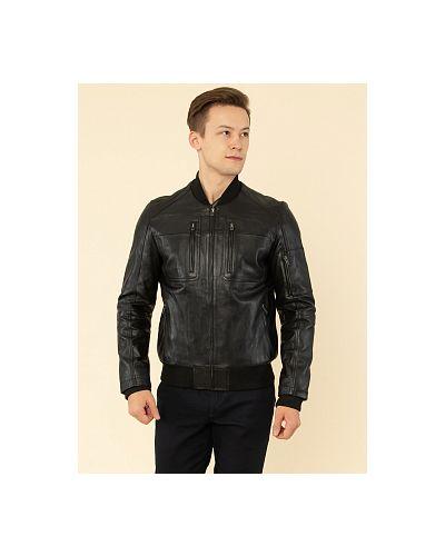 Кожаная куртка с воротником - черная каляев