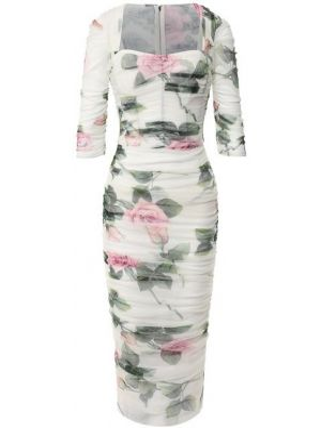 Платье миди с розами с узором Dolce & Gabbana