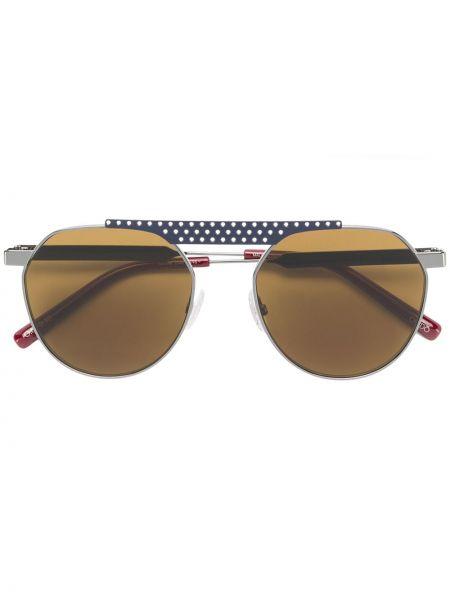 Солнцезащитные очки круглые металлические хаки Oxydo