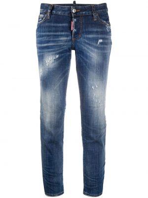 Зауженные укороченные джинсы стрейч с пайетками в стиле бохо Dsquared2