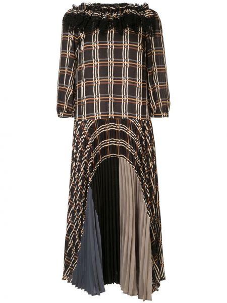 Czarna sukienka midi koronkowa z printem Antonio Marras