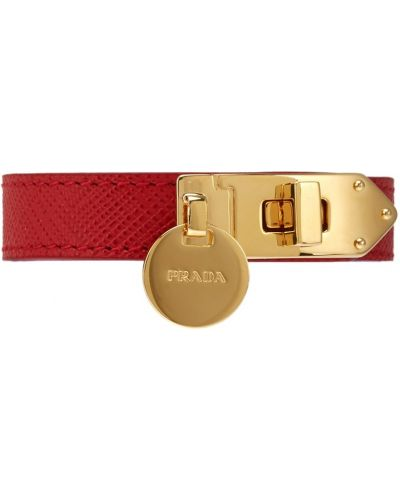 Кожаный браслет с тиснением Prada