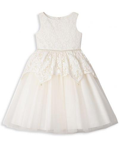 Свободное бежевое кружевное платье макси Badgley Mischka