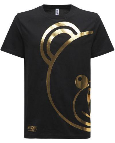 Черная хлопковая футболка Moschino Underwear