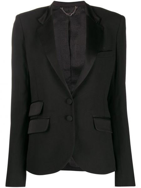 Однобортный черный приталенный классический пиджак Paco Rabanne