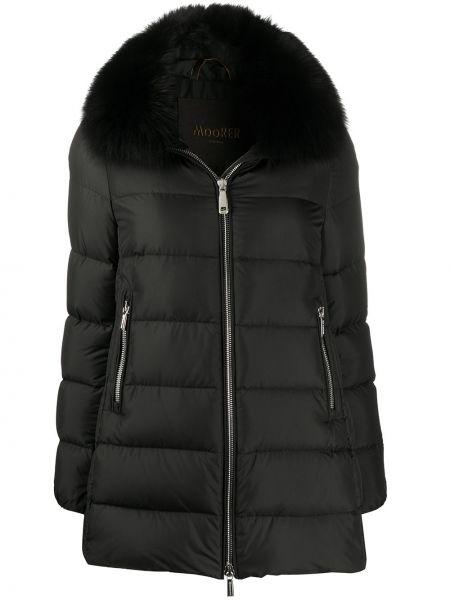 Черное пуховое стеганое пальто двустороннее с воротником Moorer