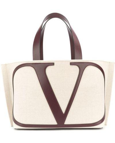 Кожаная сумка пляжная бежевый Valentino