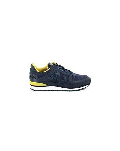 Синие кожаные кроссовки Armani Jeans