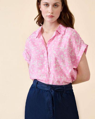 Fioletowa bluzka krótki rękaw z wiskozy Orsay