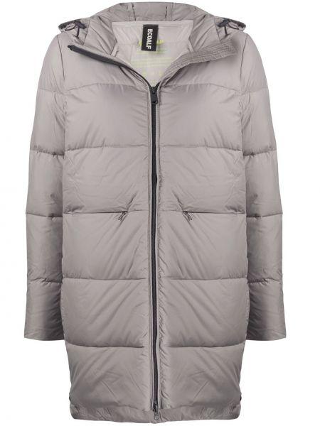 Серое пуховое стеганое пальто с перьями с карманами Ecoalf