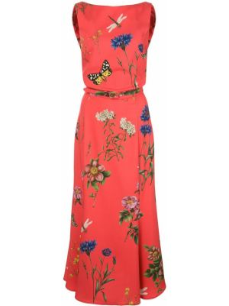 Платье с поясом с цветочным принтом в рубчик Oscar De La Renta