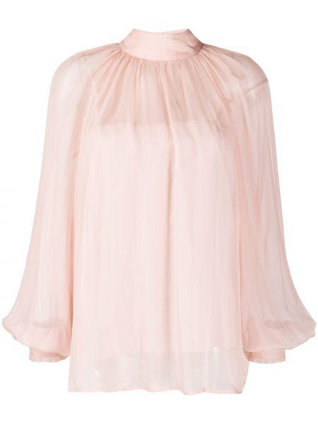 С рукавами шифоновая розовая прямая блузка с длинным рукавом Blumarine