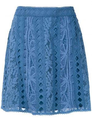 Расклешенная ажурная синяя с завышенной талией юбка Martha Medeiros