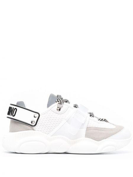 Biały koronkowa sneakersy na sznurowadłach okrągły Moschino