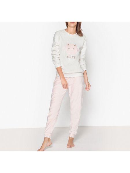 Пижама с брюками теплая красная La Redoute Collections