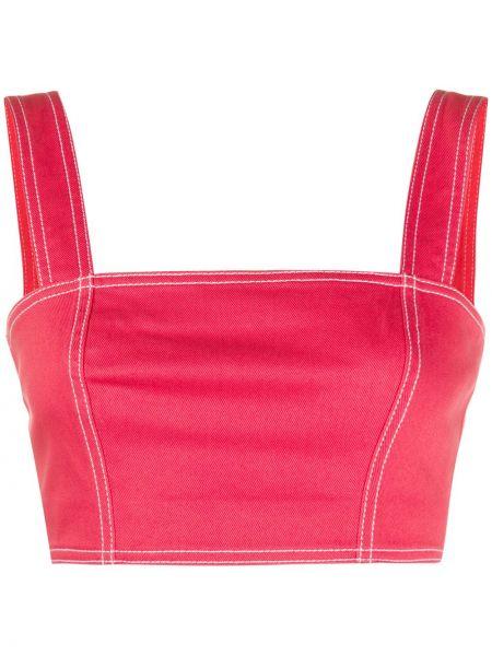 Красный кроп-топ с капюшоном без рукавов Balmain