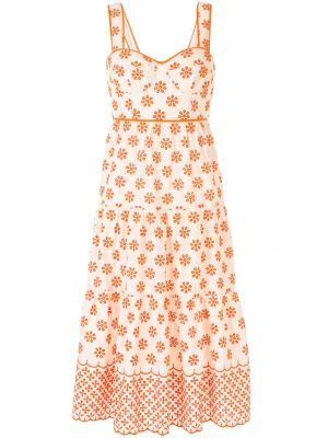 Оранжевое расклешенное платье миди на молнии с вырезом Alice Mccall