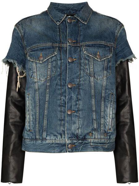 Синяя кожаная джинсовая куртка R13