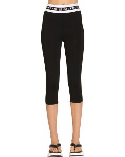 Czarne legginsy z wysokim stanem z paskiem Givenchy