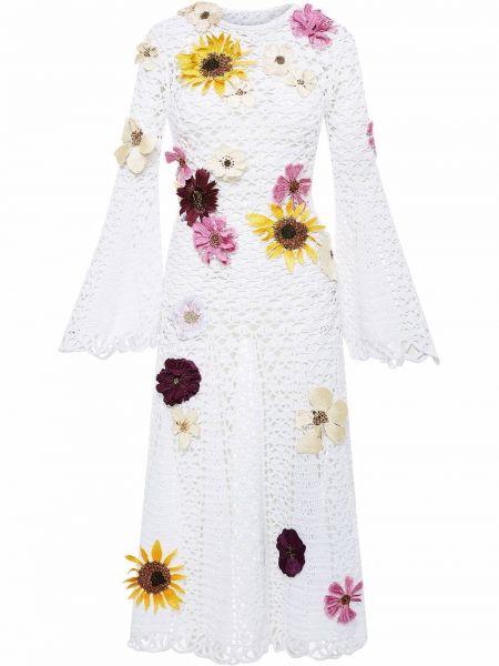 Хлопковое платье миди - белое Oscar De La Renta