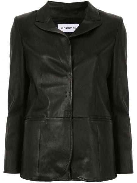 Черный приталенный кожаный классический пиджак Sylvie Schimmel