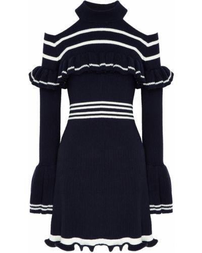 Платье мини вязаное в полоску Self-portrait