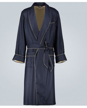 Синий шелковый халат с подкладкой Derek Rose