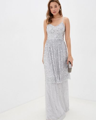 Серебряное свадебное платье с оборками Frock And Frill