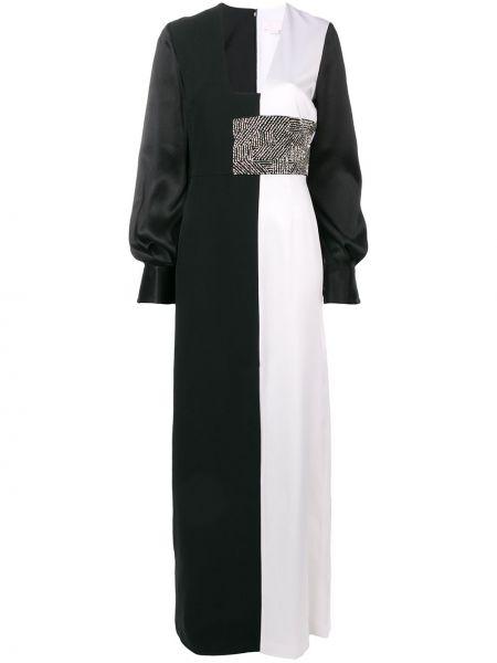 Czarna sukienka długa z jedwabiu Genny