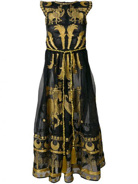 Шелковое черное платье с вышивкой Yuliya Magdych