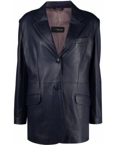 Фиолетовый кожаный удлиненный пиджак с карманами Manokhi