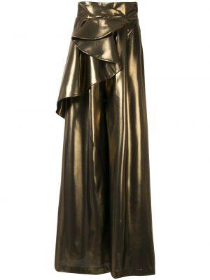 Расклешенные свободные брюки золотые Azzi & Osta