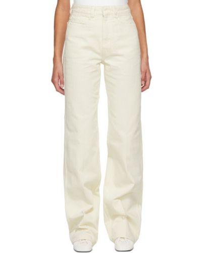 Prosto biały jeansy na wysokości z kieszeniami Lemaire