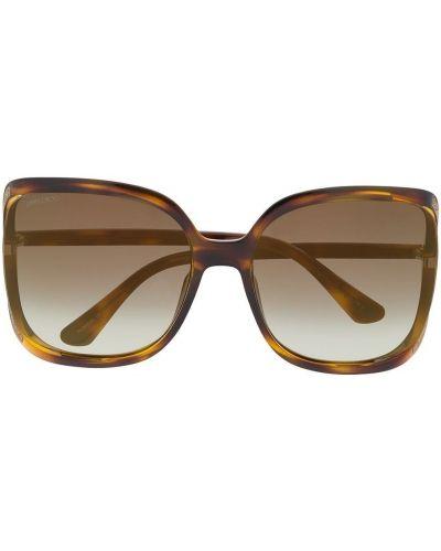 Массивные солнцезащитные очки хаки металлические Jimmy Choo Eyewear