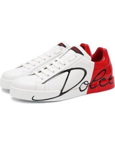 Красные кожаные кеды Dolce & Gabbana