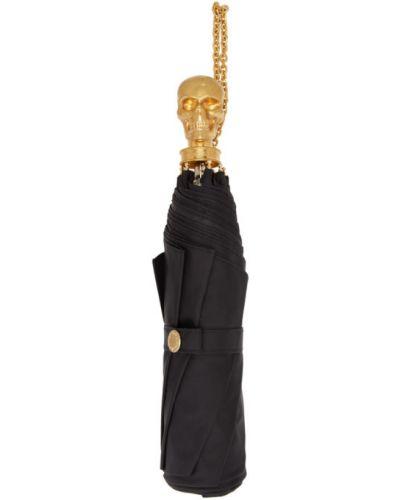 Czarny parasol z czaszkami metal Alexander Mcqueen