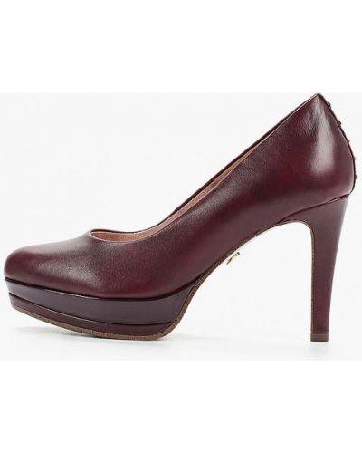 Туфли на каблуке кожаные бордовый Heart & Sole By Tamaris
