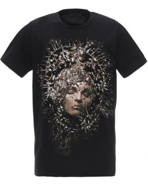 Czarny t-shirt bawełniany Rh45