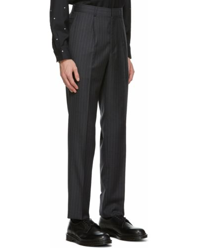 Spodnie w paski z paskiem wełniane Comme Des Garcons Homme Deux